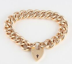 Vintage Heavy Solid 9Ct  Gold Curb Link Chain Charm Bracelet 80.1grams 7 34''