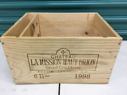 Wine Box Case Wooden Crate Holds 6750ml Chateau Mission Haut Brion 1998