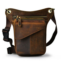 Vintage Leather Drop Leg Bag Motorcycle Outdoor Tactical Thigh Waist Fanny Pack