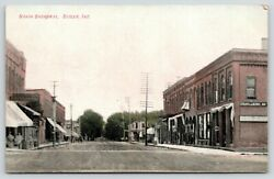 Butler Indiana~North Broadway Street~Steam Laundry~Store Fronts~Dirt Road~1909