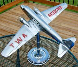 RARE 1930s TWA METAL MODEL AIRPLANE LAMP DOUGLAS DC 2 24quot; WINGSPAN $4450.00