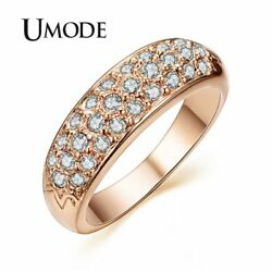 UMODE Classic anillos mujer bague aros Rose Gold Color Rhinestones Studded