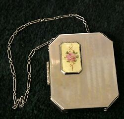 VINTAGE ART DECO ROSE METAL COMPACT MAKEUP ROUGE POWDER CHAIN HANDLE
