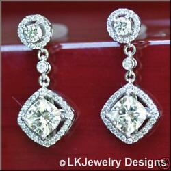 3.25 Ct CUSHION MOISSANITE & DIAMOND HALO FOREVER ONE GHI DROP EARRINGS