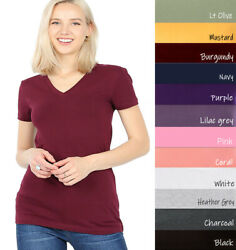 Zenana Outfitters V Neck Short Sleeve T Shirt Plain Solid Top Stretchy Cotton $9.99
