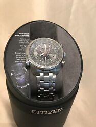 $495 NEW Citizen Eco-Drive 48mm Mens steel Chrono Perpetual Brycen