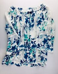 NWOT New Directions Sz L Top White Blue Aqua Floral Lace Bell Sleeves Semi-Sheer