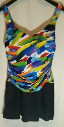 SUDDENLY SLIM by Catalina Multi Colored Skirted Bathing Suit LARGE 12 14 $20.00