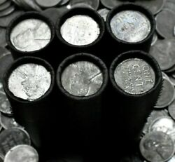 Old Wartime Steel Cent on Vintage Lincoln Wheat Penny Roll Antique Coins WW2 PDS