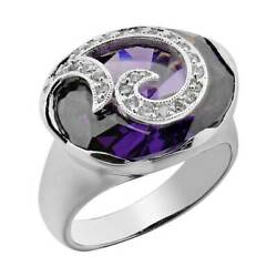 7 Carats Oval Cut Amethyst Simulated Cubic Zirconia Women's Anniversary Ring