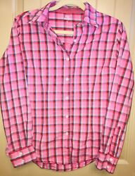 Wrangler George Strait For Her Cowgirl Western Pink Checked Button Down Womens M