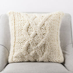 Glitzhome Ivory Cable Knit Pillow Case Sofa Waist Cushion Cover Soft Home Decor