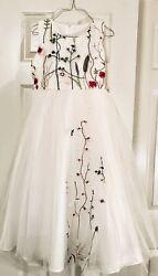 White Embroidered Girls Party Pageant Special Occasions Dress Size 7 $25.50