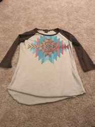 Rock & Roll Cowgirl Brown Blue Red Rhinestone Vintage Top Size Small
