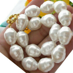Huge Large Fashion 20mm South Sea White Baroque Pearl Necklace 18