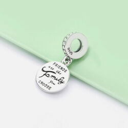 Authentic S925 Sterling Silver Friends Are Family You Choose Love Dangle Charms