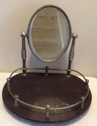 Vintage Mens Womens Vanity Shaving Mirror With Wood Tray & Stand