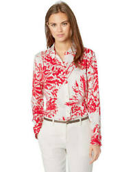 NWT $280 EQUIPMENT BRETT RED & WHITE FLORAL SILK BUTTON DOWN SHIRT SZ S