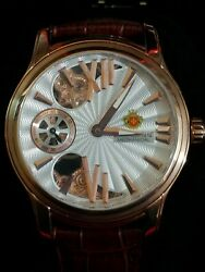 LOUIS RICHARD HAMMOND AUTOMATIC WATCH ROSE GOLD WITH BROWN LEATHER STRAP