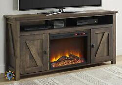 Fireplace Tv Stand Rustic Bedroom Electric Heater LED Flames Home Console New $984.21