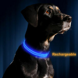 LED Adjustable Dog Collar Blinking Night Light Up Glow Pets Safety Rechargeable $8.58