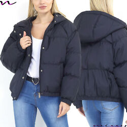 NEW WOMENS LADIES QUILTED WINTER COAT PUFFER FUR COLLAR HOODED UP JACKET PARKA GBP 22.99