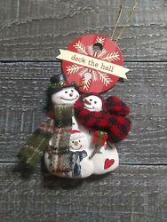 Primitive Country Rustic Christmas Family of 3 Ornament New $24.95