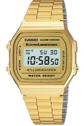 Casio A168WG-9 GOLD Stainless Steel Digital Casual Watch Alarm Stopwatch Unisex