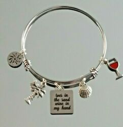 Toes in the sand wine in my hand beach Bangle Charm Bracelet Alex
