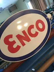 ENCO SIGN JUMBO 2 SIDED 4' Sign Gas Oil Advertising Texaco Gulf Sinclair Esso