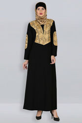 Arabic Design Golden Abaya Islamic Long Dress Trendy Maxi Modest Clothing $139.99