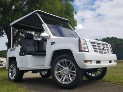 2015 acg White Cadillac Escalade Golf Cart custom Street Legal Lsv 4 passenger
