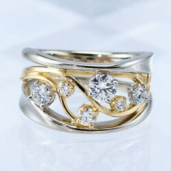 Fashion Two Tone 925 Silver Rings Women Jewelry White Sapphire Ring Size 6-10