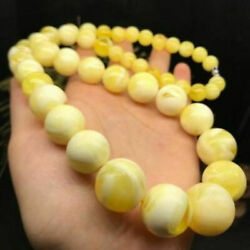Beautiful Baltic Amber White Nectar Beeswax 10-20mm Beads Tower Chain Necklace
