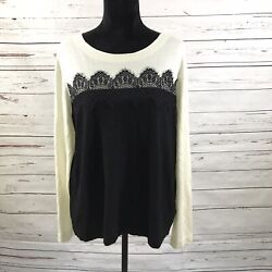 Talbots Women's Sweater Black & White Lace Long Sleeve Size 1X