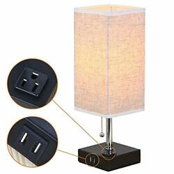 Bedside Table Lamp USB Nightstand Desk Lamp For Bedroom Guest Room Fabric Shade