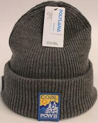 Coal x Pow Men's Embroidered Polylana Knit Ribbed Beanie GS2 Gray One Size NWT