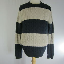 Vtg Brooks Brothers Country Club Mens Large Navy Blue Striped Cable Sweater