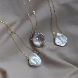 14-15mm White Baroque Pearl Necklace 18 inches Accessories Jewelry Flawless