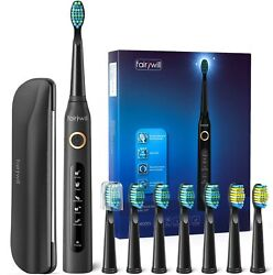 Fairywill Sonic Electric Toothbrush Waterproof 10x Soft Heads Rechargeable USB
