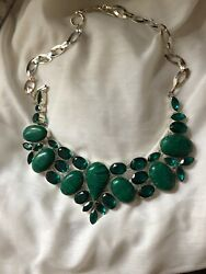 Synthetic MalachiteGreen Glass Necklace-Huge Statement Necklace Surface-scratch