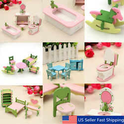 4 Lots Wooden Dolls House Miniature Accessory Home Furniture Children Toys