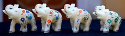 4 Pcs Antique Marble Elephant Trunk Up Micro Mosaic Inlay Marquetry H1968