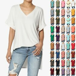 TheMogan PLUS Casual V Neck Rolled Short Sleeve Hi Low Side Slit Tunic Top Tee $10.49