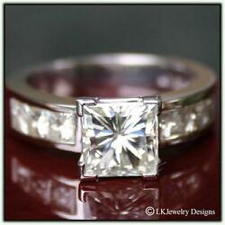 3.00 CT MOISSANITE PRINCESS FOREVER ONE GHI ENGAGEMENT CHANNEL RING