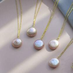 1PCS 14-15mm Pink Baroque Pearl Pendant Necklace 18 inches Accessories
