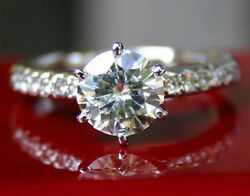 3.20 CT FOREVER ONE GHI MOISSANITE MICRO PAVE WEDDING ENGAGEMENT RING
