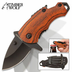 Timber Wolf MINI Money Clip Folding Pocket Knife Spring Assisted Open EDC Wood $6.98