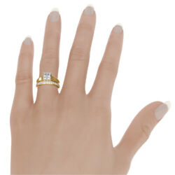 PRINCESS DIAMOND BAND RING VS2 18 KT YELLOW GOLD 3.22 CT PROMISE REAL WOMENS