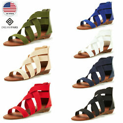 DREAM PAIRS Women Fashion Gladiator Ankle Low Wedges  Open Toe Flat Sandals $16.99